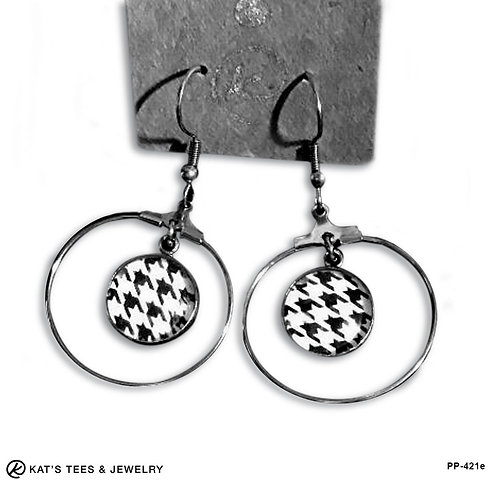 Stainless Steel Houndstooth loop earrings