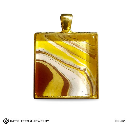 Maroon and gold artistic pendant