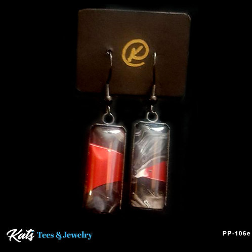 Poured Painting black stainless steel earrings - crimson white and blk