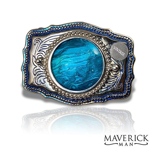 Hand painted blue stone in blue and silver belt buckle