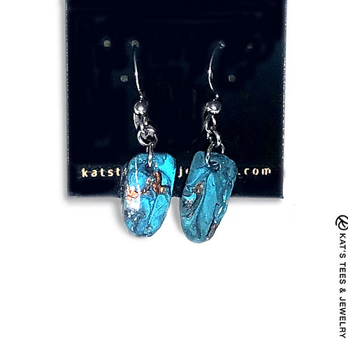 Small slate earrings with turquoise black and copper accents