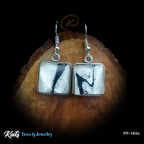 Poured Painting earrings - black and white - wearable art