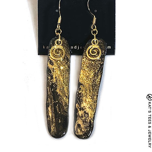 Long slate earrings in gold and black with gold spirals