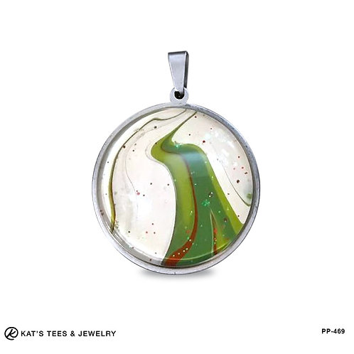 Unusual Christmas pendant from poured acrylics