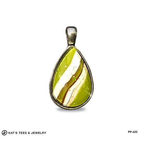 Teardrop pendant in olive green and red with glitter