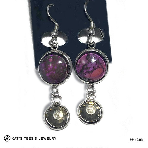 Unusual purple stainless earrings with smoked quartz rhinestones