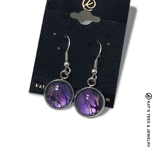 Fantastic metallic purple stainless steel earrings from poured acrylics