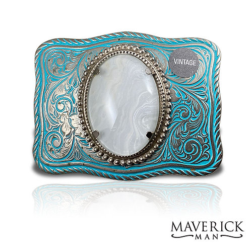 Handsome turquoise belt buckle with hand painted pearl stone