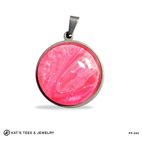 Small round stainless steel pendant in pinks