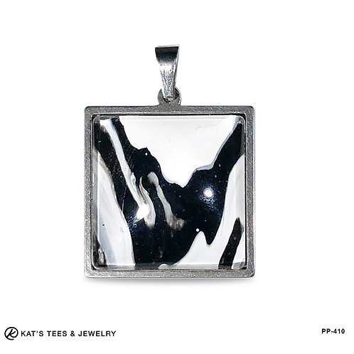 Stainless Steel artistic pendant - black and white square