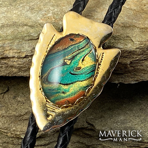 Eye-catching unisex gold arrowhead bolo with hand painted southwestern stone