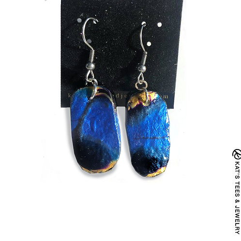 Modern sapphire blue slate earrings with gold and black