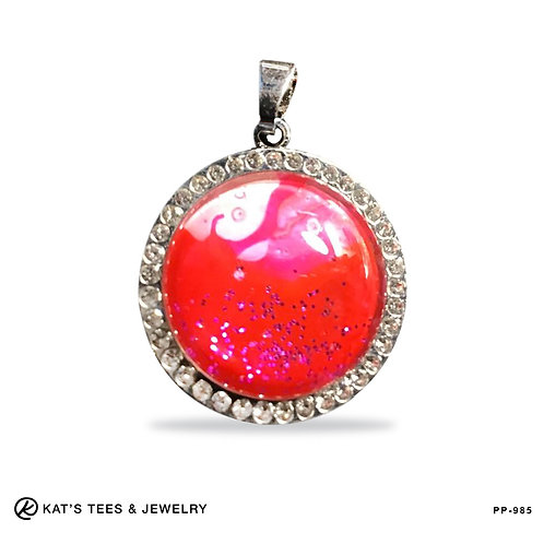 Small Round Pendant with Faux Rhinestones Red Pink