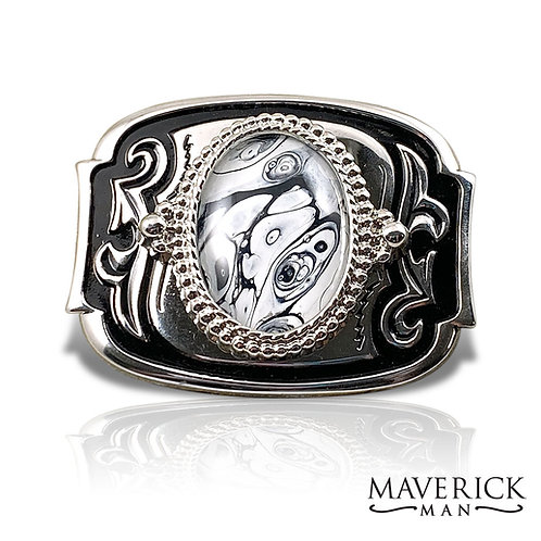 Unusual black and white stone in handsome black and silver belt buckle