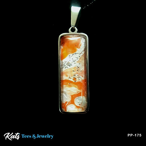Stainless Steel sm pendant - orange and silver - wearable art!