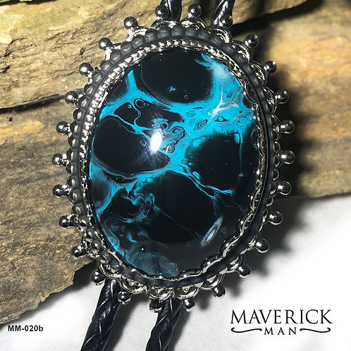 Unusual large bolo in turquoise and black