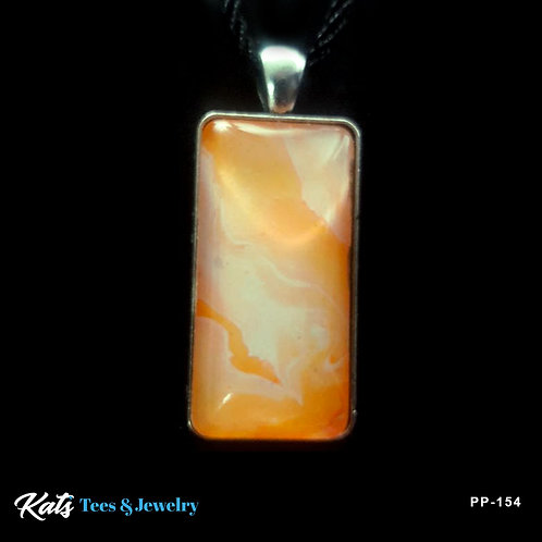 Medium Rectangle pendant - orange and white fans - wearable art!