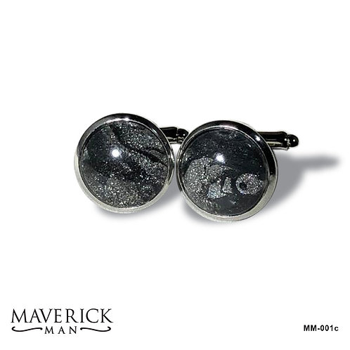 Unusual stainless steel cufflinks in black and platinum poured acrylics