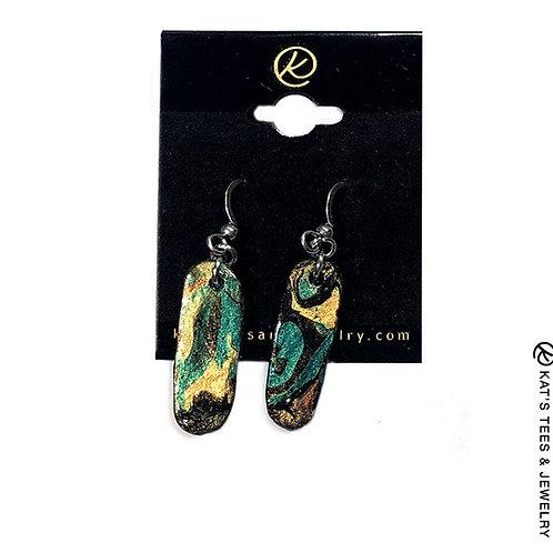 Lightweight slate earrings in Emerald City greens w stainless steel hooks