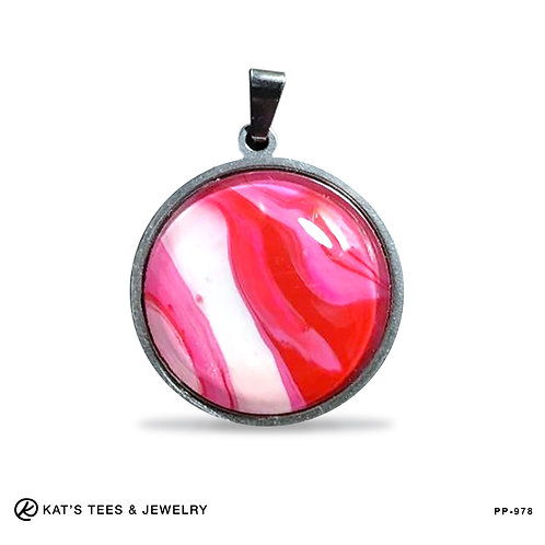 Small round stainless pendant in Hot Pink Red and White