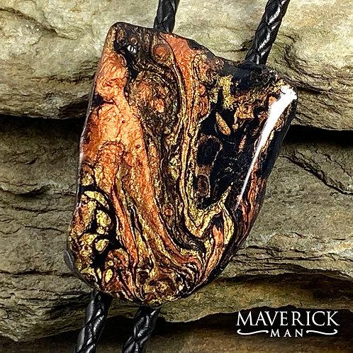 Unusual slate bolo in earthtone metallic poured acrylics