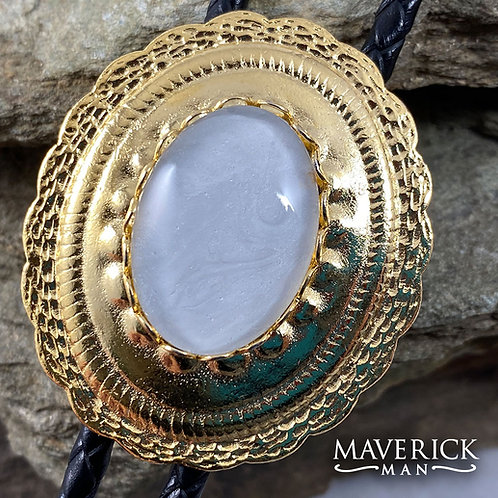 Gold concho bolo with hand painted pearl stone