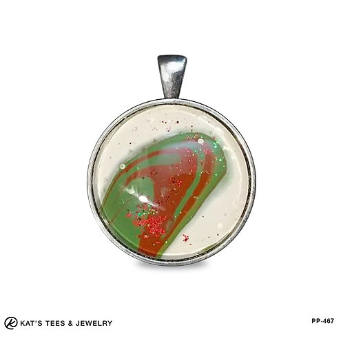 Unique Christmas pendant in red green and off white poured acrylics