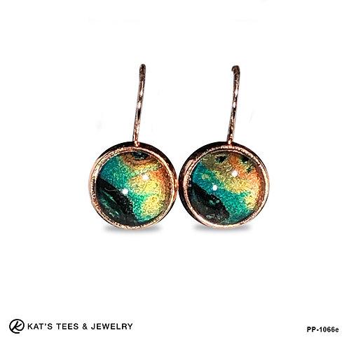 Unusual earrings in stunning metallic poured acrylics