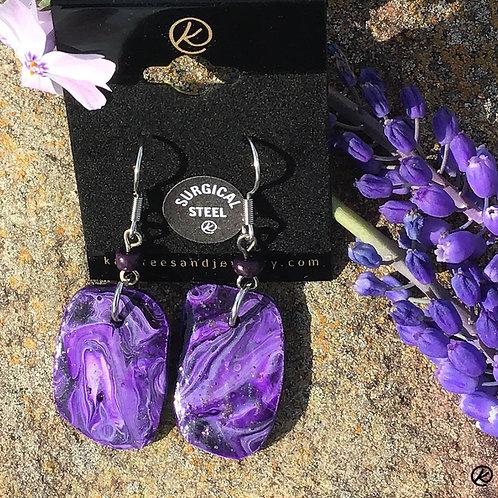 Small purple slate earrings with glitter