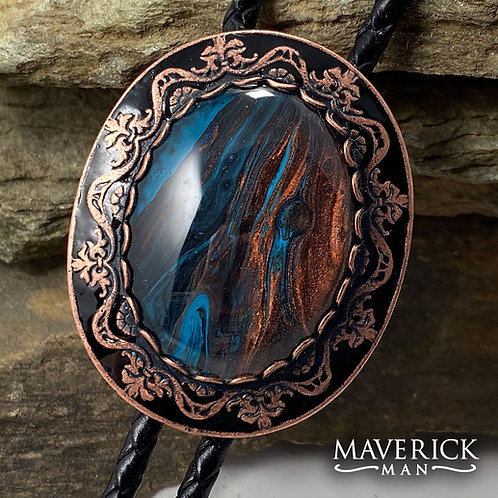 Large copper bolo w handpainted blue and copper stone