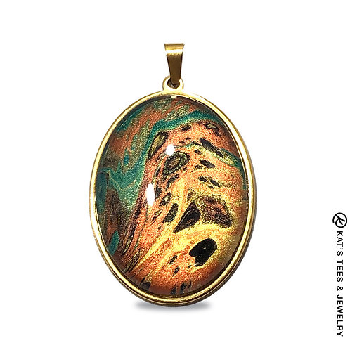 Gold-plated stainless steel pendant with copper gold and emerald green metallics