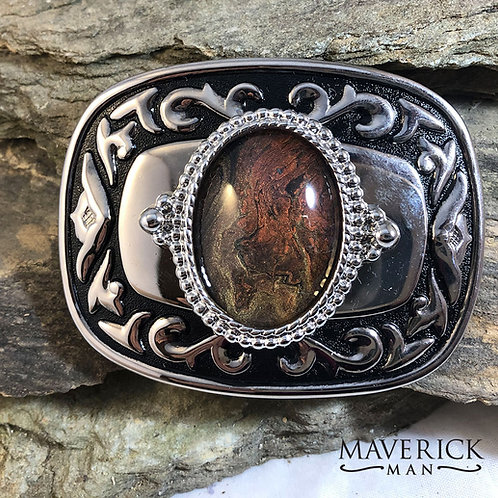 Western belt buckle with unusual gold and rust earthtone stone