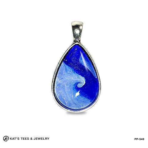 Beautiful blue and white teardrop pendant