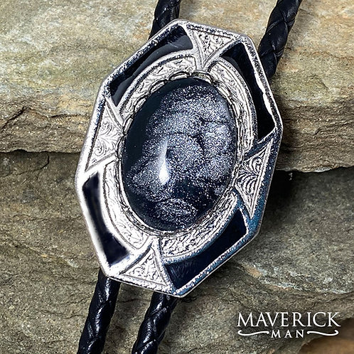 Dressy black and silver bolo with hand painted stone