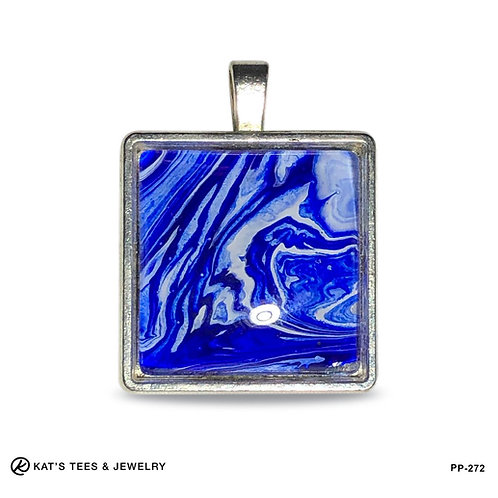 Small Square pendant in blue and white