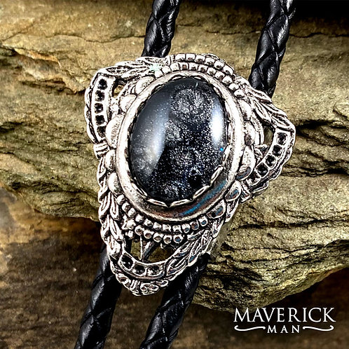 Concho bolo with hand painted black and platinum stone