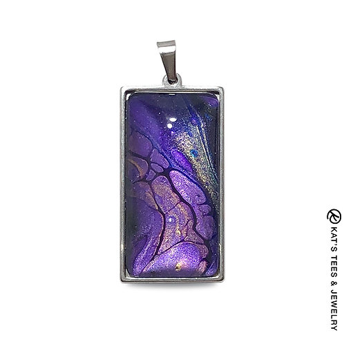Metallic purple stainless steel pendant from poured acrylics
