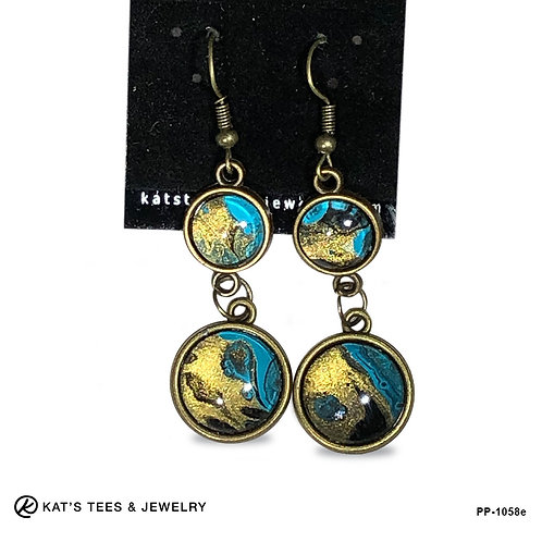 Beautiful turquoise gold and black dangly earrings from poured acrylics