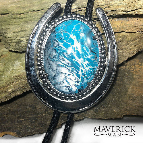 Horseshoe bolo with hand painted turquoise and silver stone