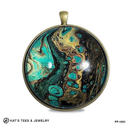 Beautiful large pendant in stunning metallic poured acrylics