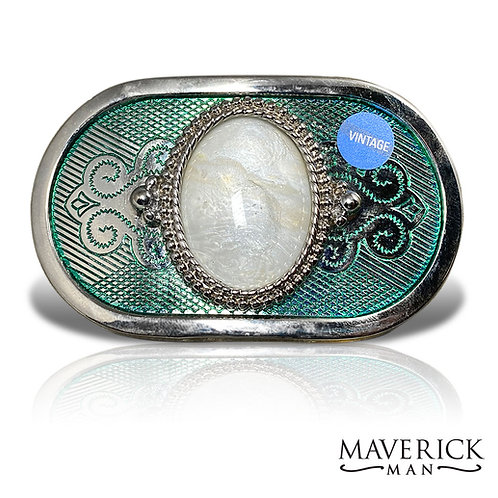 Hand painted pearl stone in green and silver belt buckle