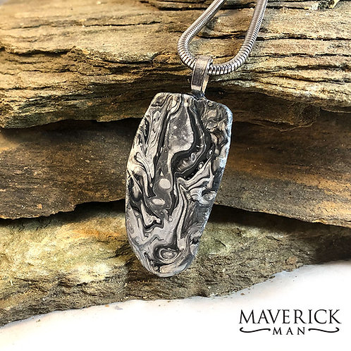 Black and silver slate pendant with 3mm stainless snake chain