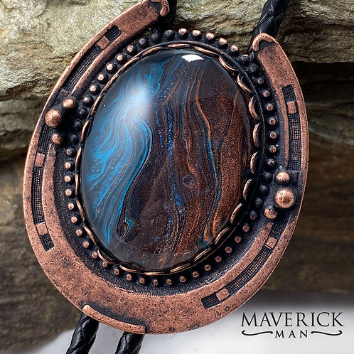 copy of Large copper bolo w handpainted blue and copper stone