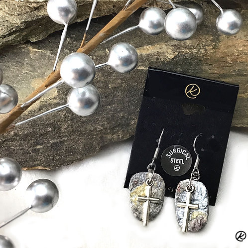 Gold and silver slate earrings with crosses