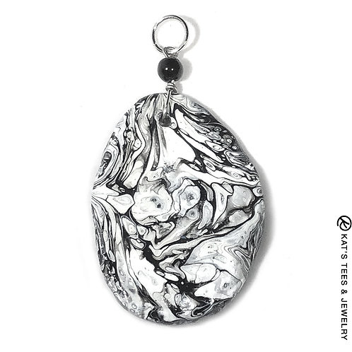 Stunning slate pendant in black and white poured acrylics