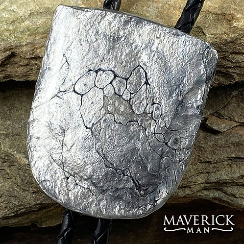 Large slate bolo in silver and black paints