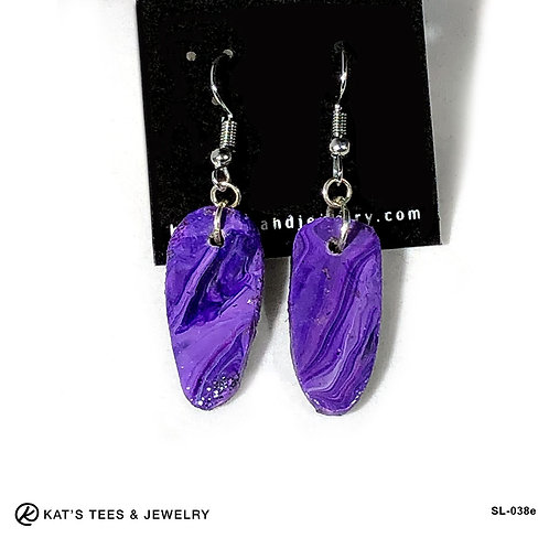 Beautiful slate earrings in shades of purple