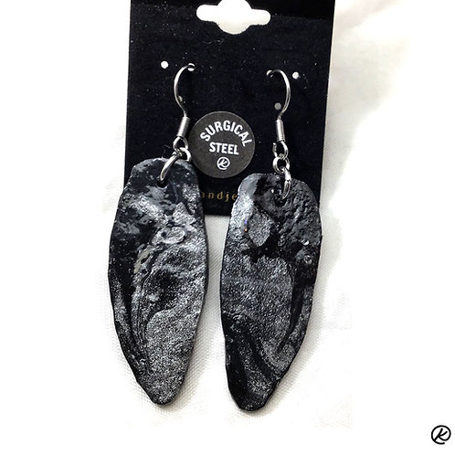 Longer slate earrings in black and platinum poured acrylics