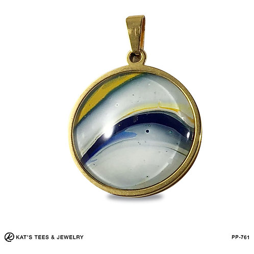 Gold-plated Stainless Steel Poured Painting pendant in blue and gold