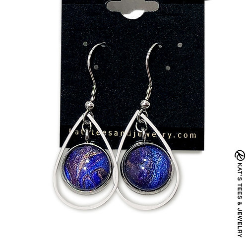Stainless steel sapphire blue and metallic purple w black